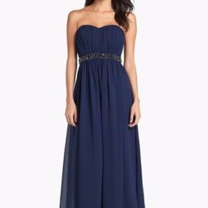 Jessica Simpson Embellished Pleat Georgette Gown